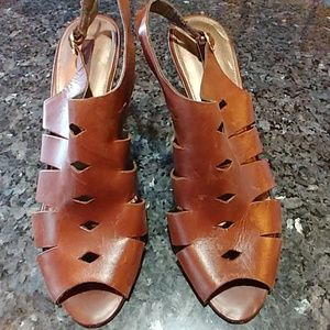 Bandolino Brown Leather Geometric Cut Out Sandals